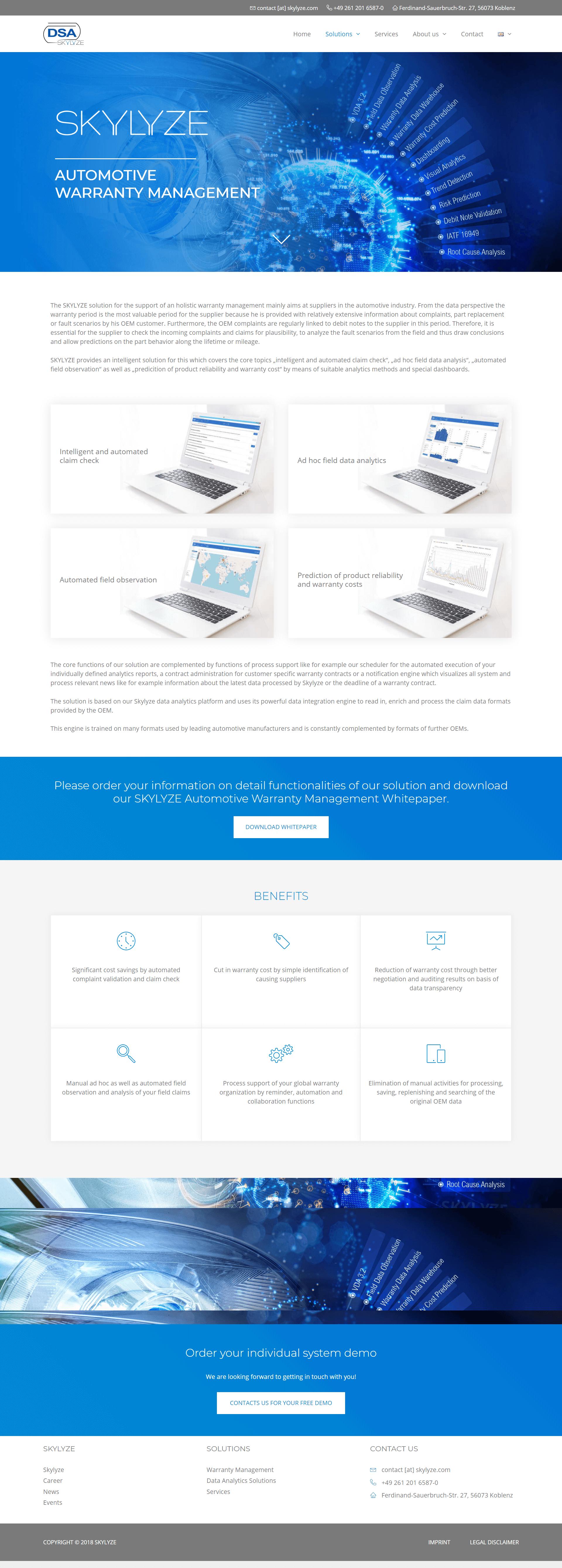 skylyze webdizajn warranty management